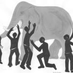 6 Ciegos queriendo saber cómo es un Elefante
