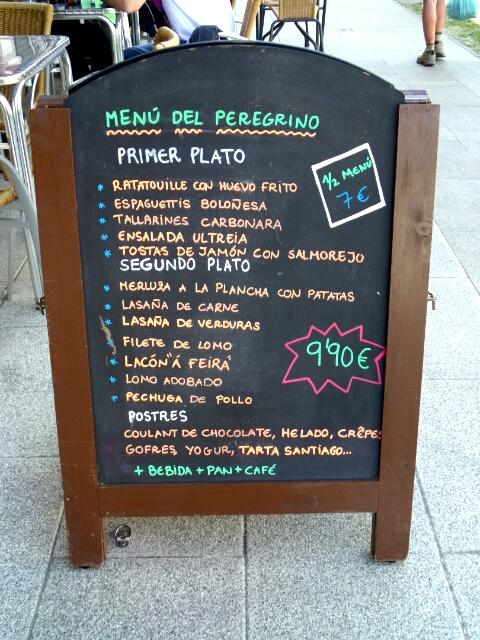 menu peregrino